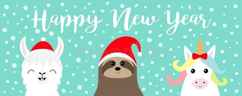 szczęśliwego nowego roku, Lamy alpaga, opieszałości twarzy set Santa czerwony kapelusz Śnieżny płatek wesołych Świąt Ślicznej kre ilustracji