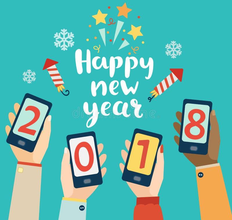 Szczęśliwego nowego roku mobilny projekt royalty ilustracja