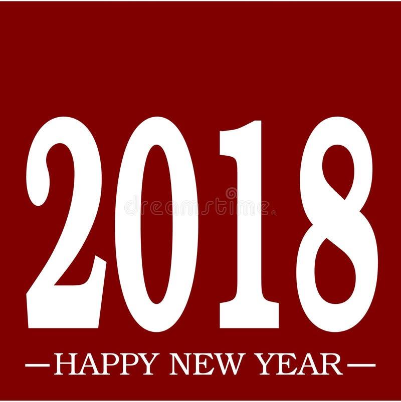 Szczęśliwego nowego roku powitania 2018 CZERWONY prosty wektorowy czerwony tło i biały tekst z przestrzenią ilustracji