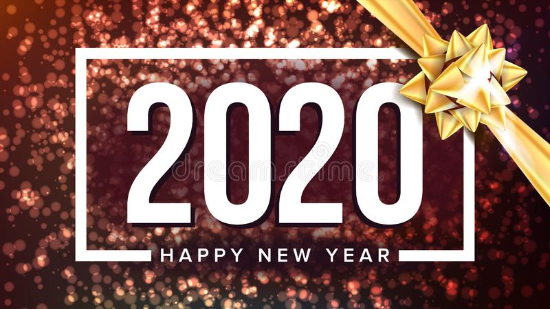 2020 Szczęśliwego nowego roku powitania plakata Wakacyjnych wektorów royalty ilustracja