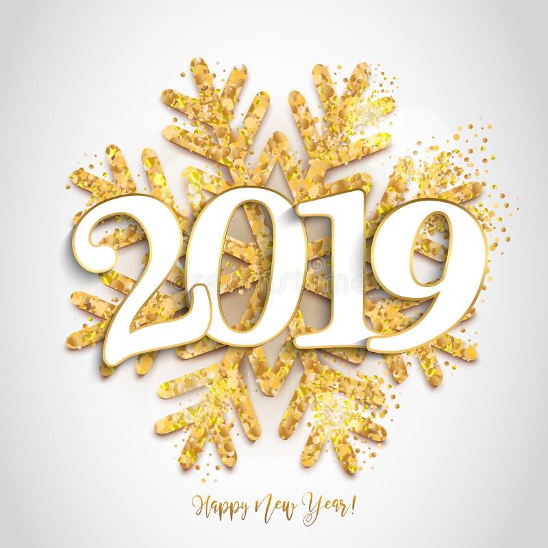 Szczęśliwego nowego roku projekta biały tło z 2019 i błyszczeć gola ilustracja wektor