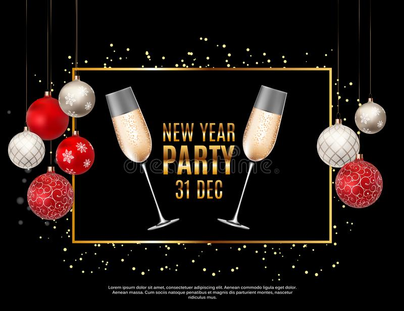 Szczęśliwego nowego roku przyjęcia 31 Grudnia Plakatowa Wektorowa ilustracja royalty ilustracja