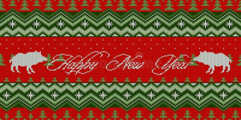 szczęśliwego nowego roku, Rok świnia Zimy noc - boże narodzenia dziali woolen bezszwowego wzór z dzikimi knurami w świerkowym les ilustracji