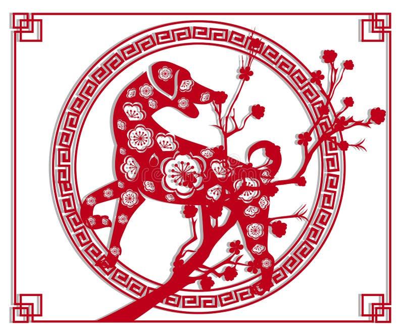 Szczęśliwego nowego roku 2018 szczotkarskiego świętowania Chiński nowy rok pies księżycowy nowy rok ilustracji