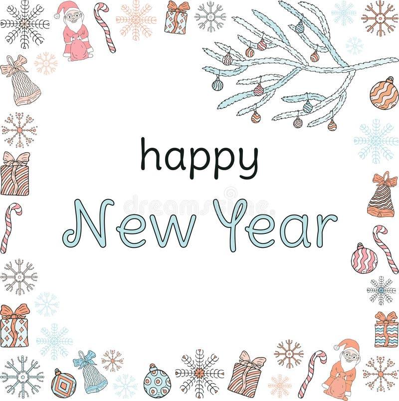 szczęśliwego nowego roku, sztandar Inskrypcja w ramie Santa klauzula, choinek gałąź, prezenty, cukierki, płatek śniegu, dzwony a royalty ilustracja