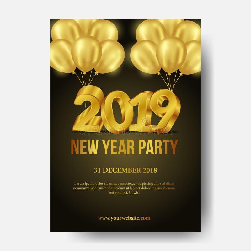 Szczęśliwego nowego roku tła plakatowy szablon z 3d złota numerowym i ciemnym złocistym helu balonu tłem również zwrócić corel il ilustracja wektor