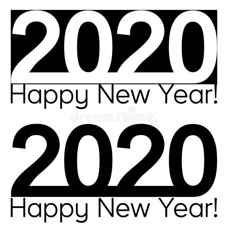 Szczęśliwego nowego roku teksta literowania broszurki projekta 2020 wektorowy szablon, mapa, sztandar ilustracja wektor