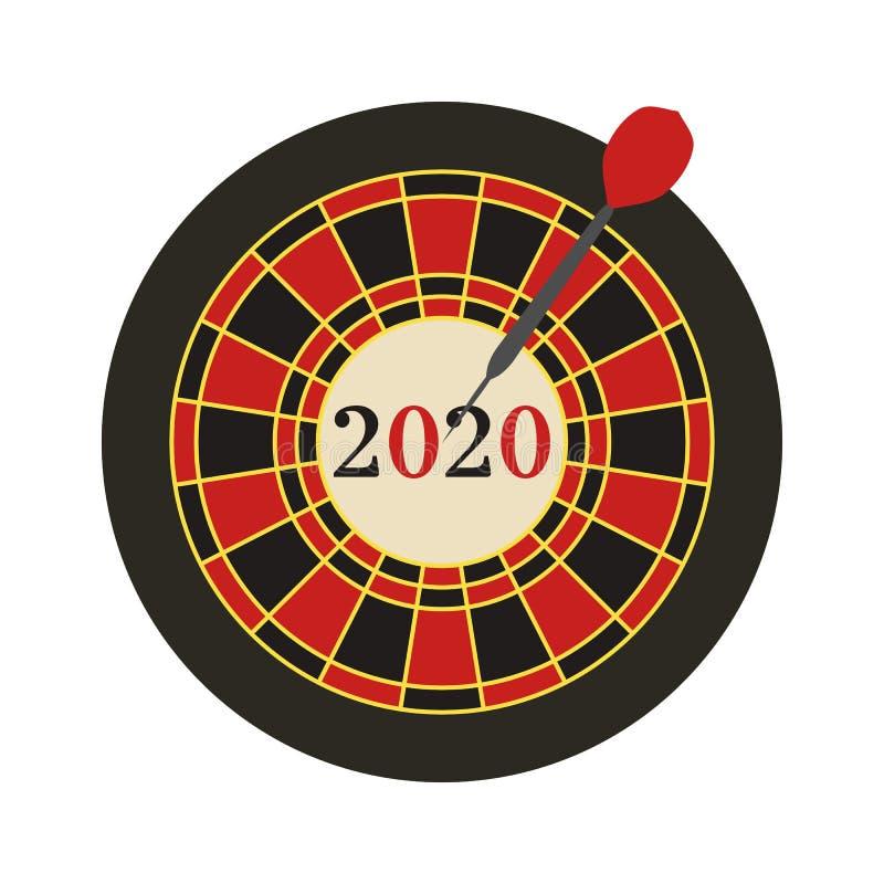 Szczęśliwego Nowego Roku Vector 2020 Darts osiągnął cel royalty ilustracja