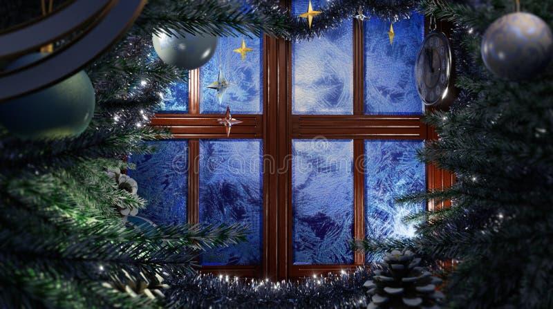 Szczęśliwego nowego roku wakacyjna scena z mrozowym okno zdjęcie royalty free