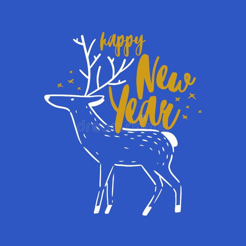Szczęśliwego nowego roku wakacyjny życzenie ręcznie pisany z kursywną dekoracyjną kaligraficzną chrzcielnicą Pisać świąteczna wia ilustracja wektor