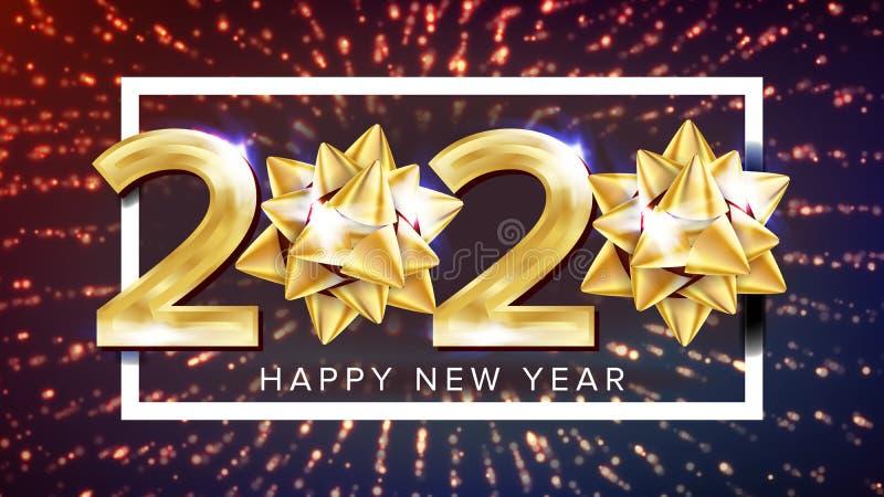 2020 Szczęśliwego nowego roku Wakacyjnych Eleganckich Plakatowych wektorów ilustracji