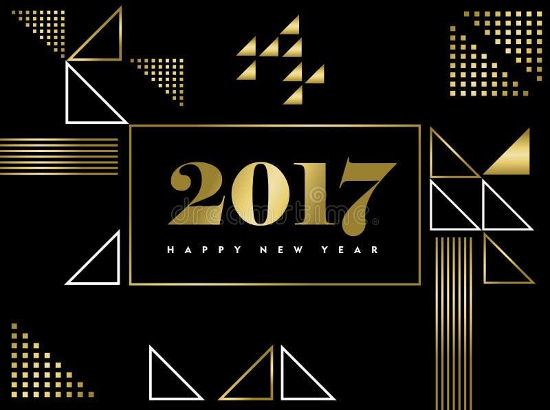 Szczęśliwego nowego roku złocistego geometrycznego kształta prosty projekt ilustracji