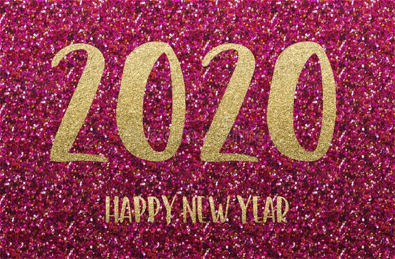 Szczęśliwego Nowego Roku 2020 Złota i czerwona konfetti zdjęcie royalty free