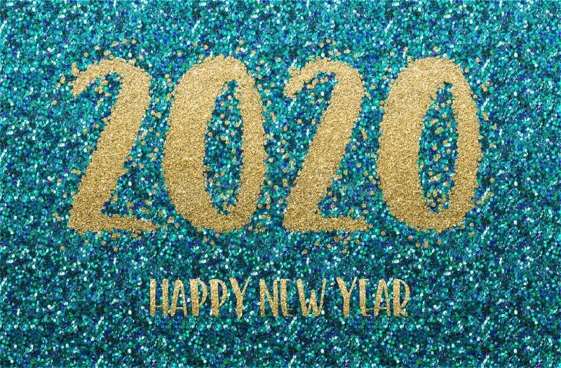 Szczęśliwego Nowego Roku 2020 Złota i niebieska konfetti zdjęcie royalty free