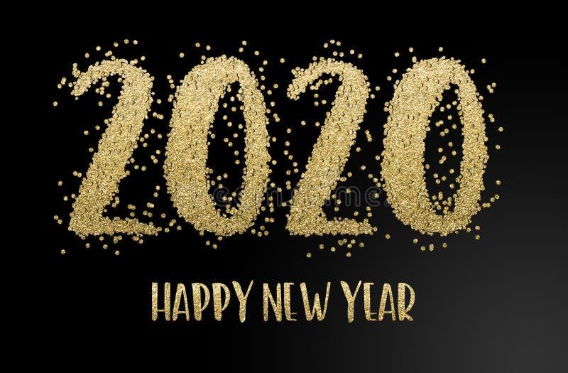 Szczęśliwego Nowego Roku 2020 Złota konfetti obraz royalty free