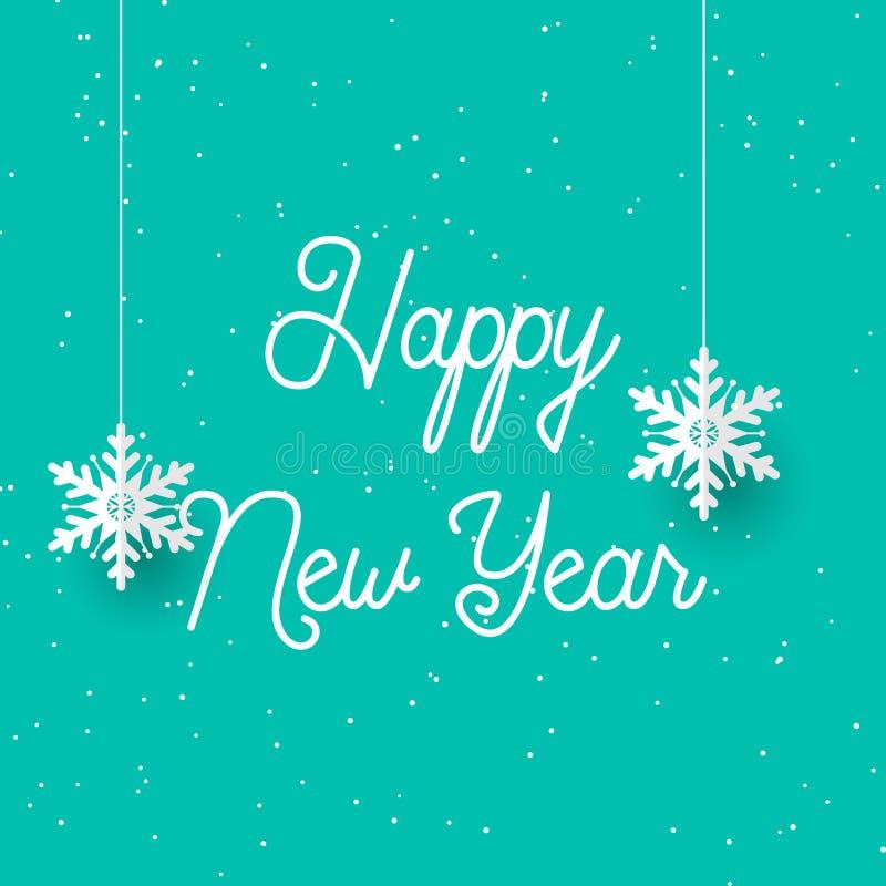 Szczęśliwego Nowego Roku z wiszącymi płatkami śniegu ilustracja wektor