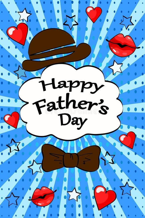 Szczęśliwego ojca dnia kartka z pozdrowieniami rocznika wystrzału sztuki komiczki retro styl ilustracji