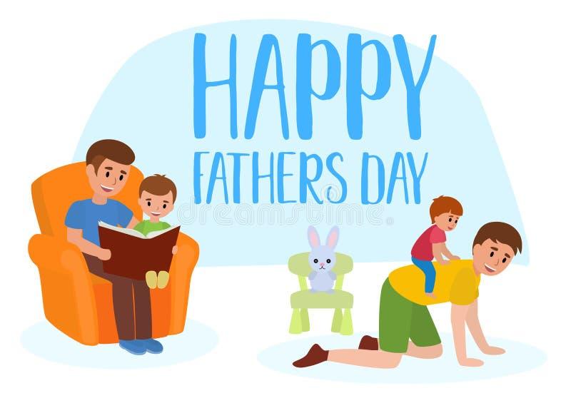 Szczęśliwego ojca s dnia wektoru płaski set Ojcuje dawać jego ono uśmiecha się czyta jego dziecku książkę chłopiec piggyback prze ilustracja wektor