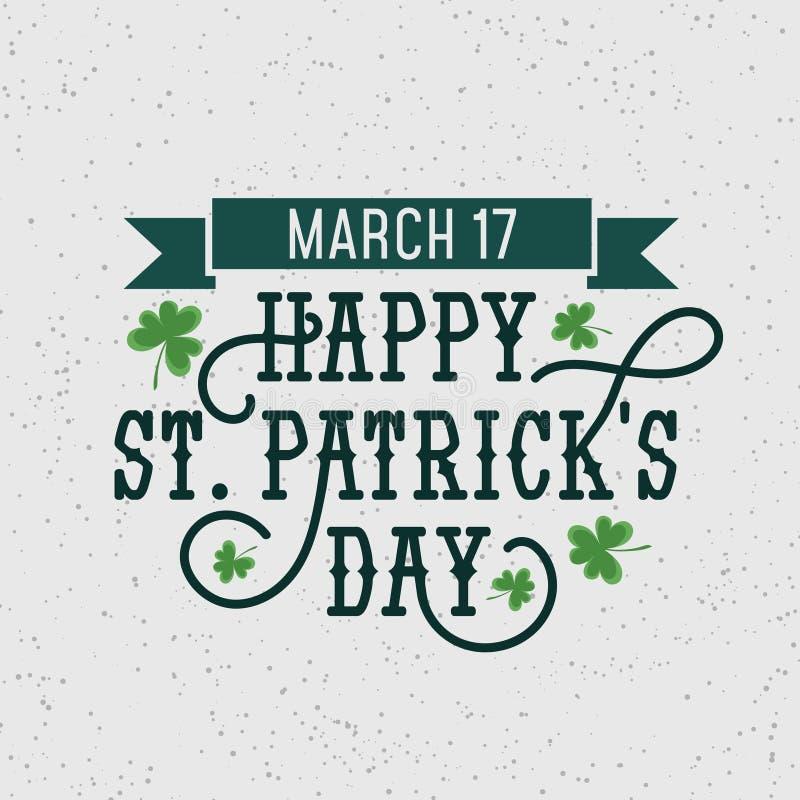 Szczęśliwego Patrick dnia retro ilustracja z grunge skutkiem i zawijasy dla sztandaru, zaproszeń, reklamowego etc, Szczęśliwy Pat ilustracji