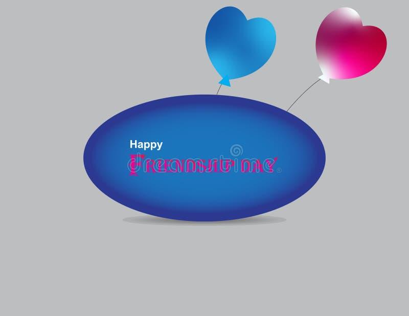 Szczęśliwego przyjaźń dnia gratulacyjna inskrypcja z kolorowymi lotniczymi balonami Kreatywnie literowanie projekt dla kartki z p ilustracja wektor