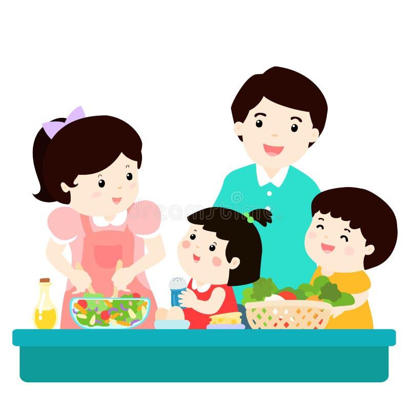 Szczęśliwego rodzina kucharza jedzenia zdrowy postać z kreskówki wpólnie ilustracji