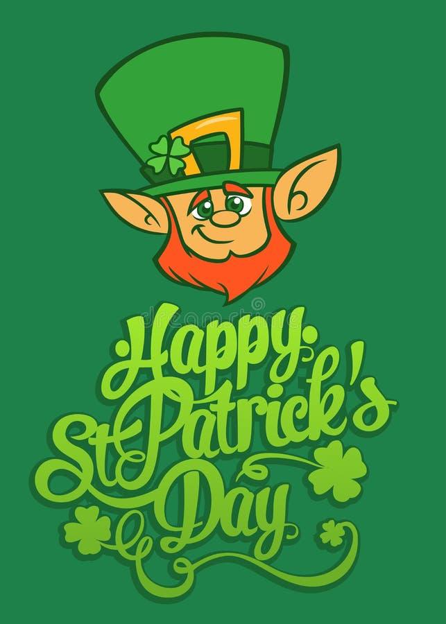 Szczęśliwego St Patrick ` s dnia literowania projekta wektorowa ilustracja z Leprechaun royalty ilustracja