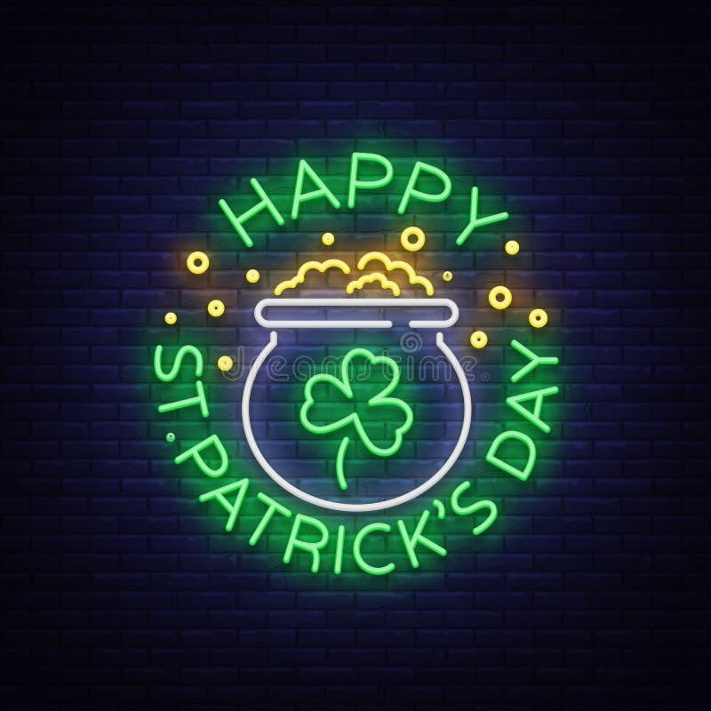 Szczęśliwego St Patrick ` s dnia Wektorowa ilustracja w Neonowym stylu Neonowy znak, kartka z pozdrowieniami, pocztówka, neonowy  ilustracji