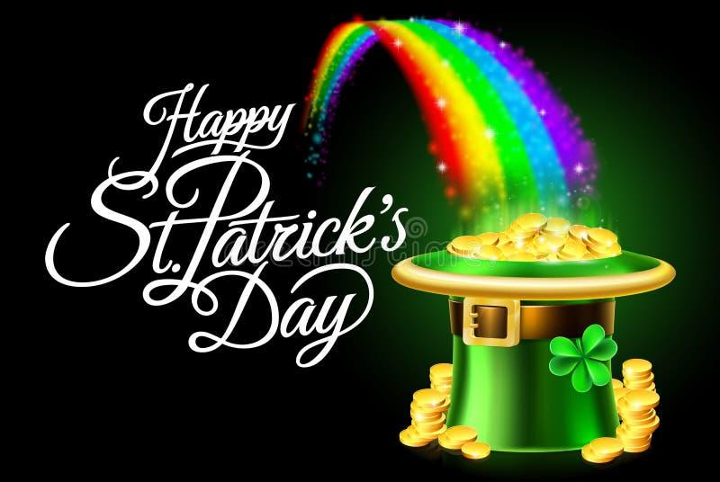Szczęśliwego St Patricks dnia Leprechaun tęczy Kapeluszowy znak ilustracji