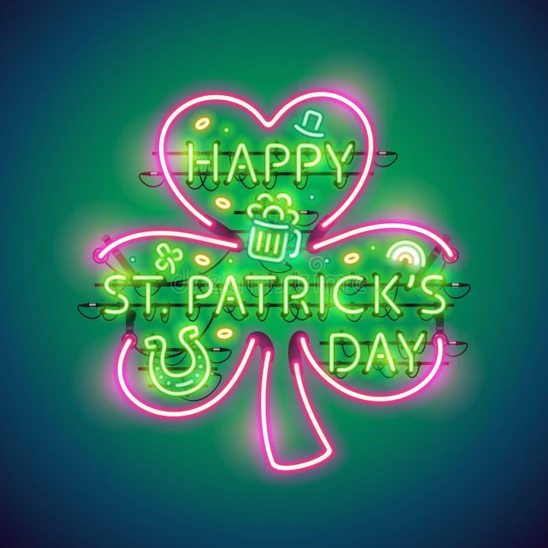 Szczęśliwego St Patricks dnia Neonowy znak ilustracji