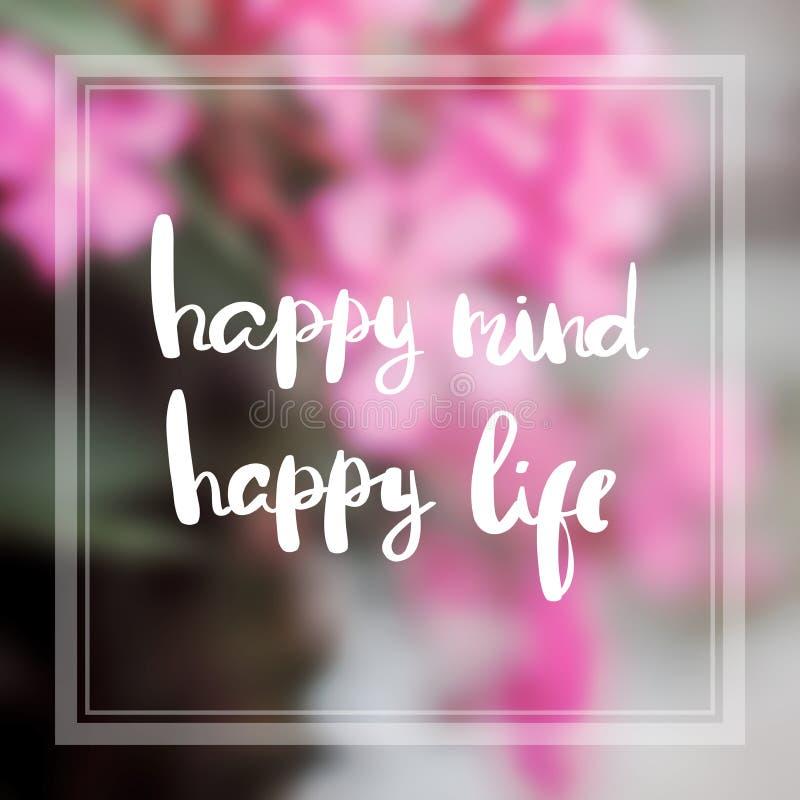 Szczęśliwego umysłu życia motywaci i inspiraci szczęśliwe wycena zdjęcie stock