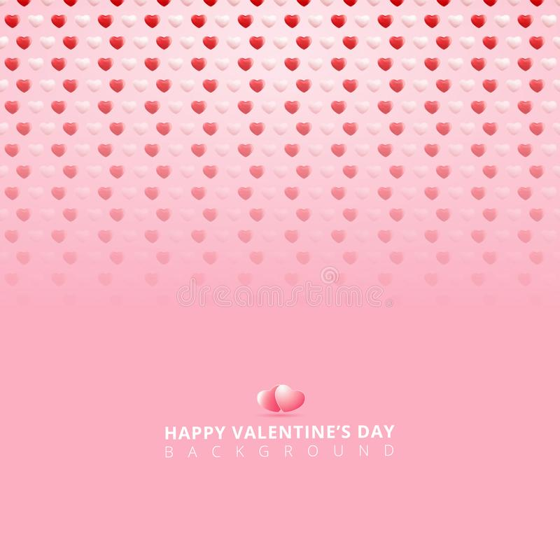 Szczęśliwego valentines dnia biały i czerwony 3d serc wzór ilustracji