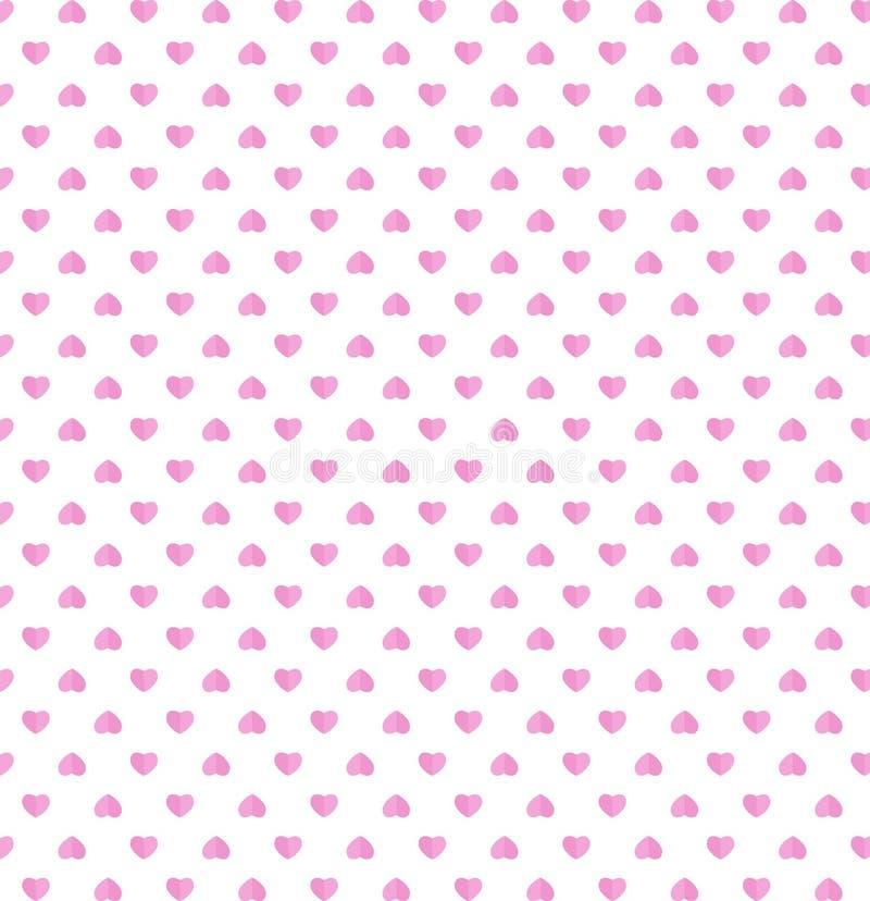 Szczęśliwego valentines dnia menchii papieru serc rżnięty wzór na bielu plecy ilustracji