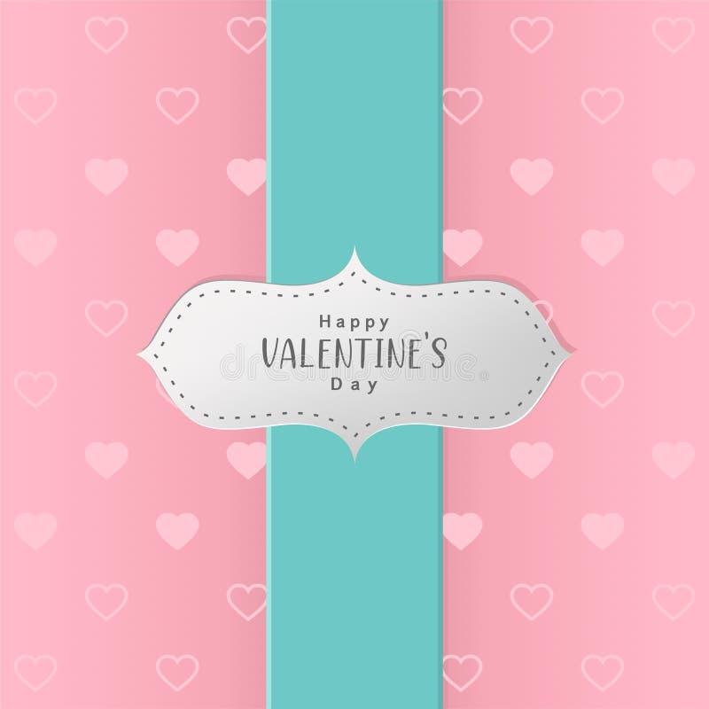 Szczęśliwego valentines dnia teksta biali serca i bezszwowy wzór royalty ilustracja