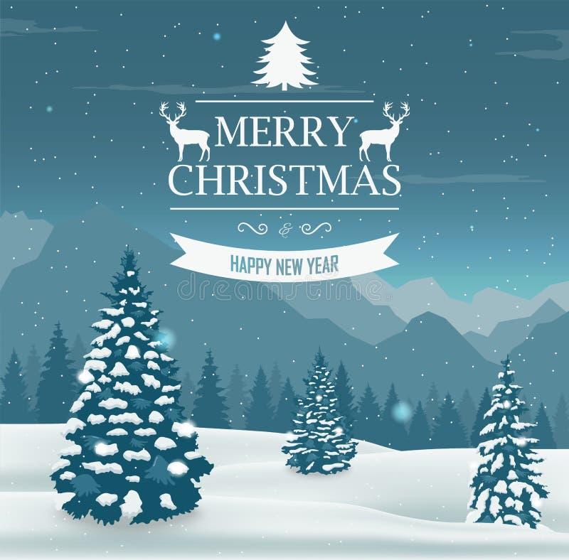 szczęśliwego wesoło nowego roku karciani boże narodzenia Zima krajobraz z śnieżnymi drzewami wektor royalty ilustracja