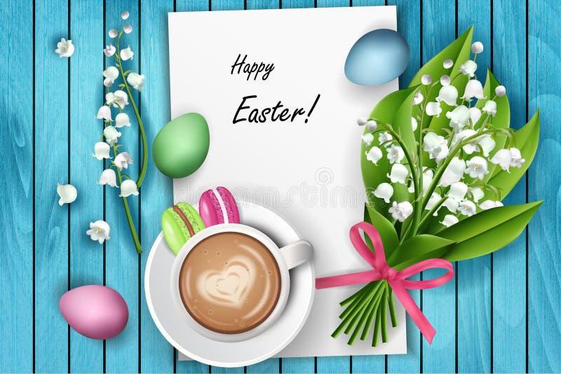 Szczęśliwego Wielkanocnego stolik do kawy odgórny widok ilustracja wektor