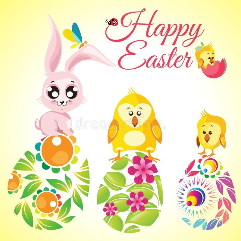 Szczęśliwego Wielkanocnego tła śliczny królik i kurczaki na kwiecistych ozdobnych jajkach royalty ilustracja