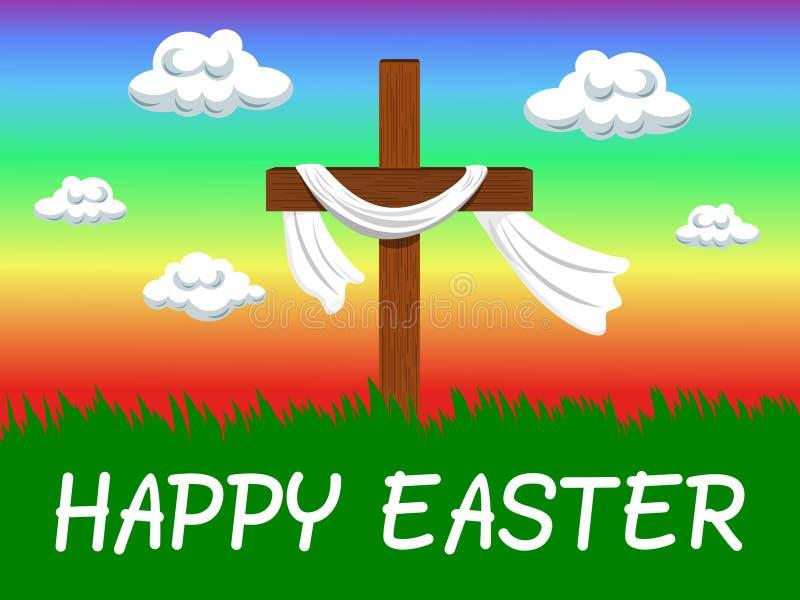 Szczęśliwego Wielkanocnego tła chrześcijański przecinający wiatr royalty ilustracja