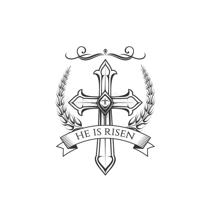 Szczęśliwego Wielkanocnego wektoru przecinająca i laurowa wianek ikona