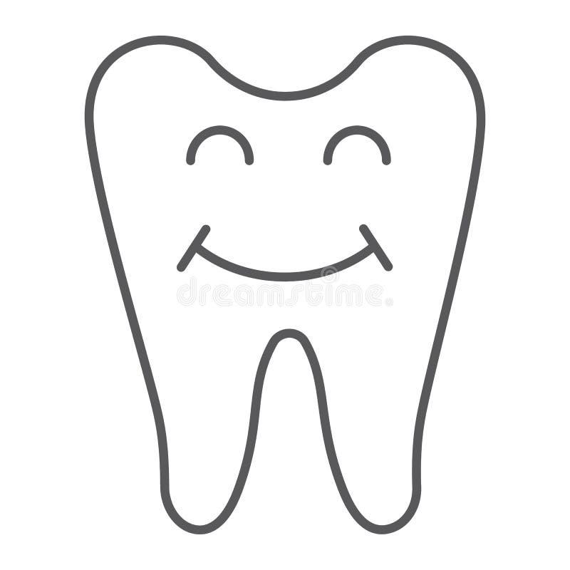 Szczęśliwego zębu cienka kreskowa ikona, zęby i dentystyka, uśmiechnięty zębu znak, wektorowe grafika, liniowy wzór na bielu royalty ilustracja