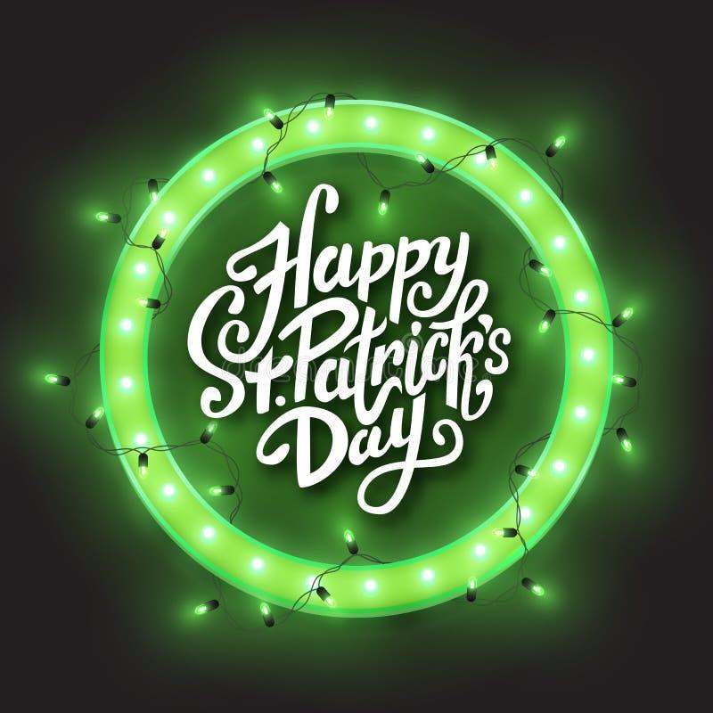 Szczęśliwej Świątobliwej Patrick dnia zieleni okręgu retro neonowa rama, dowodzona błyszcząca światło girlanda, wektorowa ilustra ilustracja wektor