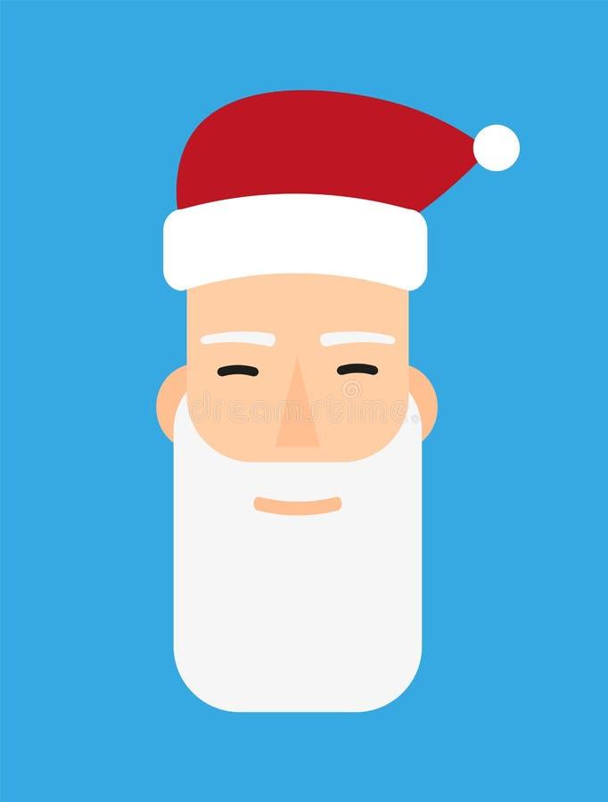 Szczęśliwej Święty Mikołaj kreskówki wektorowy portret z uśmiechem Boże Narodzenia, nowy rok kartka z pozdrowieniami, sztandar, p ilustracja wektor