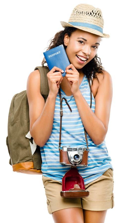 Szczęśliwej amerykanin afrykańskiego pochodzenia kobiety mienia turystyczny paszport obraz stock