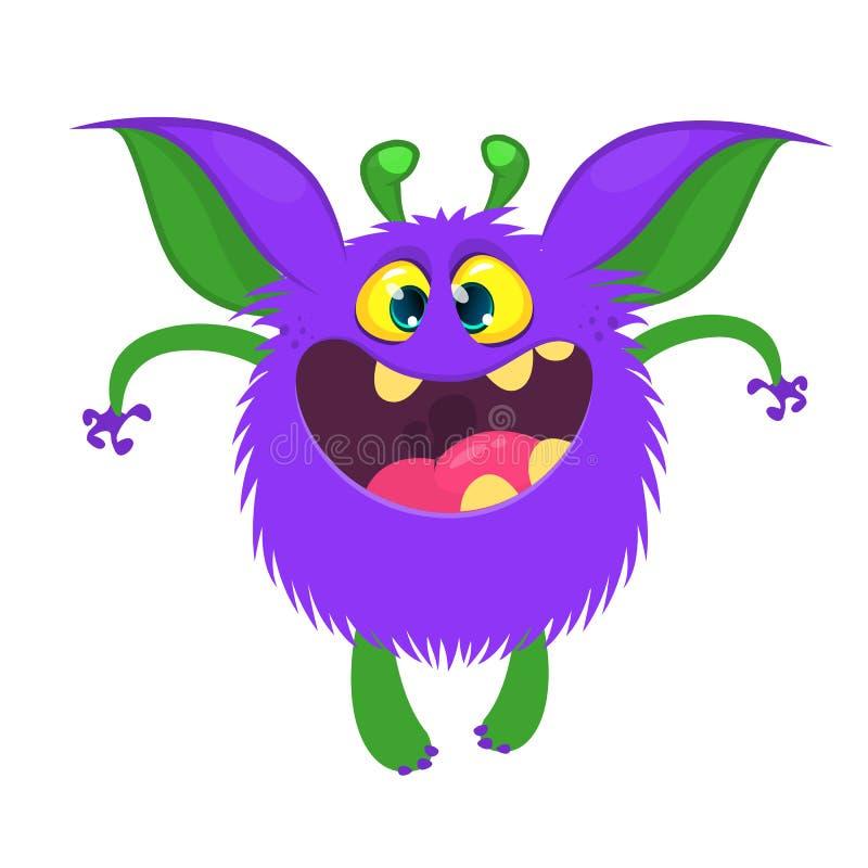 Szczęśliwej chłodno kreskówki gruby potwór z dużymi ucho royalty ilustracja