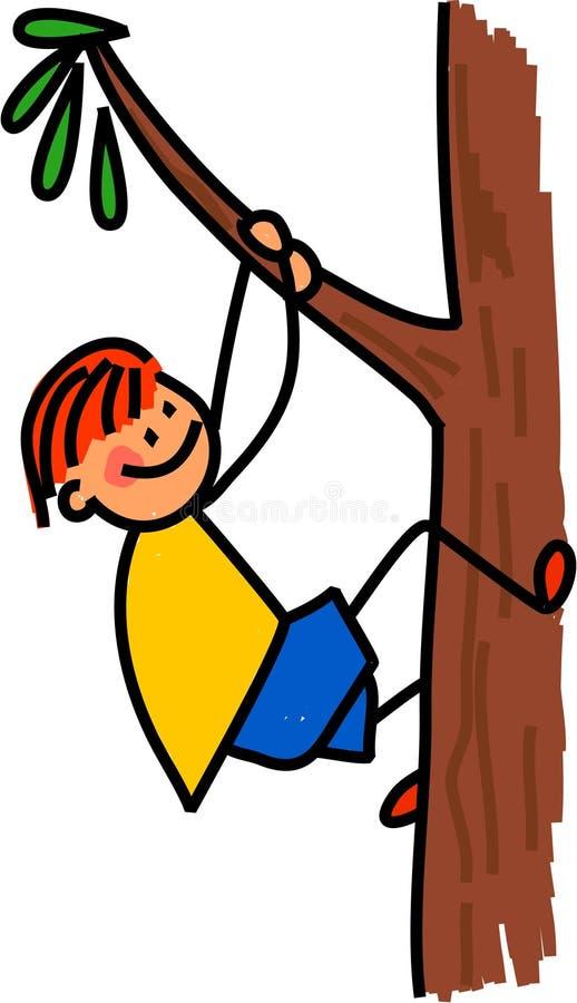 Szczęśliwej chłopiec Wspinaczkowy drzewo royalty ilustracja