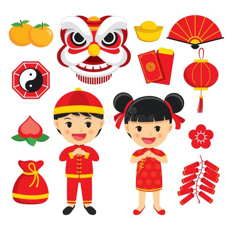 Szczęśliwej chińskiej nowy rok dekoraci tradycyjni symbole ustawiający z c royalty ilustracja