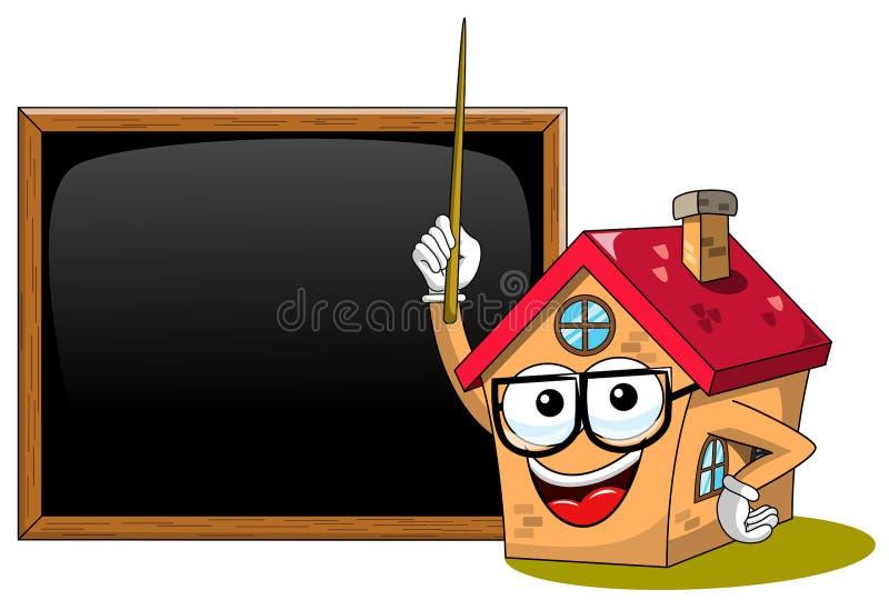 Szczęśliwej domowej kreskówki charakteru nauczyciela kija śmieszny blackboard lub chalkboard odizolowywający royalty ilustracja