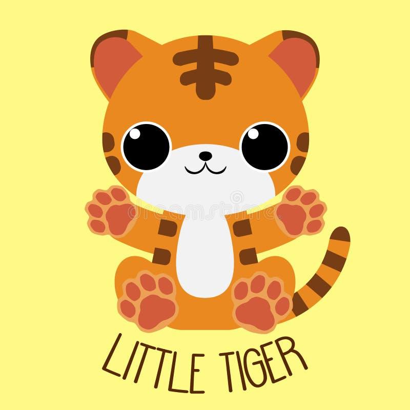 Szczęśliwej dziecko kreskówki obsiadania tygrysie ręki otwierają royalty ilustracja