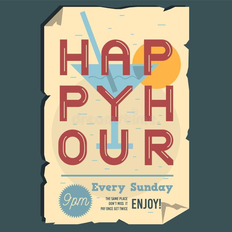 Szczęśliwej godziny Typograficzny Plakatowy projekt Z Obdartym Papierowym skutkiem royalty ilustracja