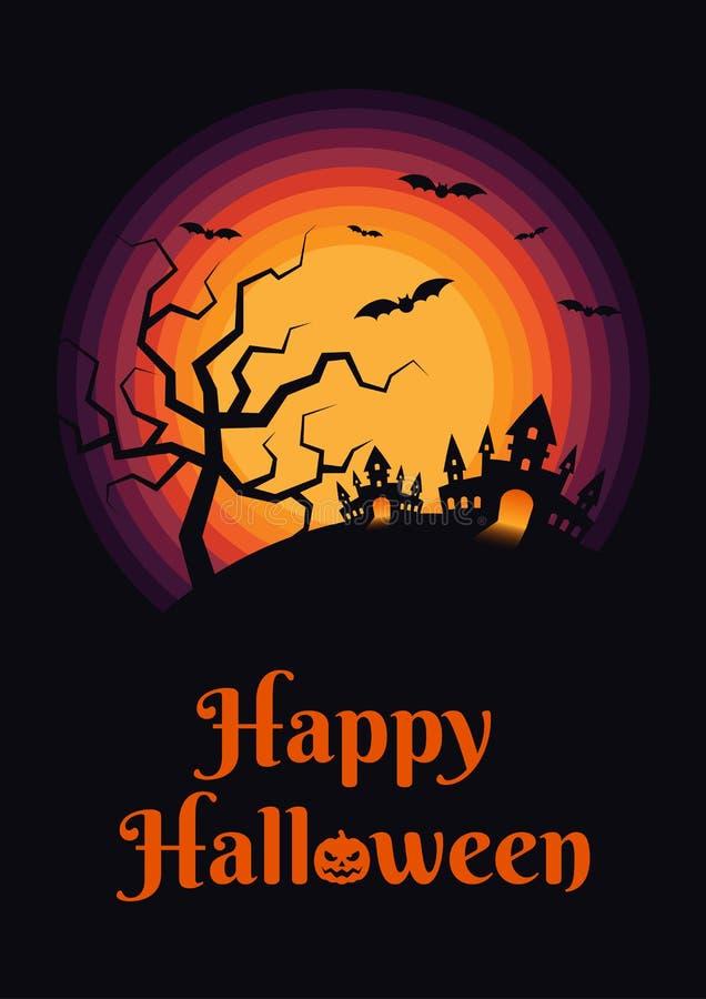 Szczęśliwej Halloweenowej nocy projekta plakatowy szablon royalty ilustracja
