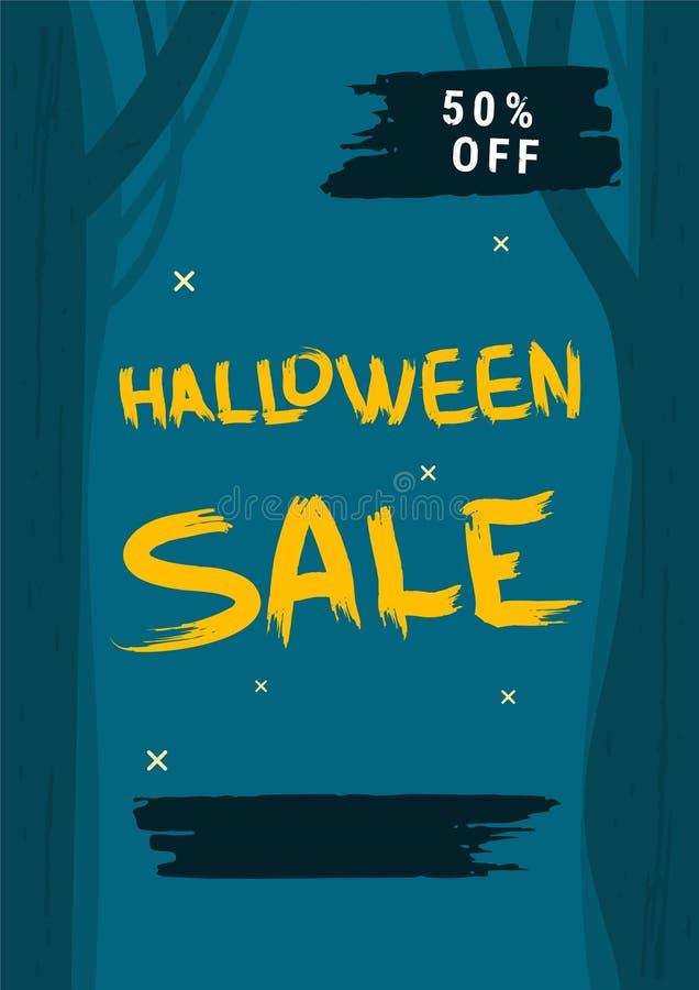 Szczęśliwej Halloweenowej sprzedaży płaski pionowo plakat również zwrócić corel ilustracji wektora royalty ilustracja